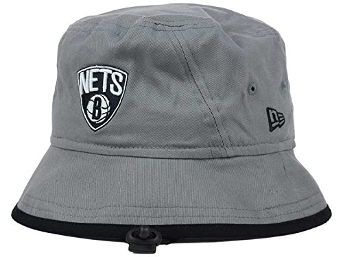 Brooklyn Nets New Era NBA Hardwood Classics Grey/Black Tipped Bucket Boonie Hat (Large)