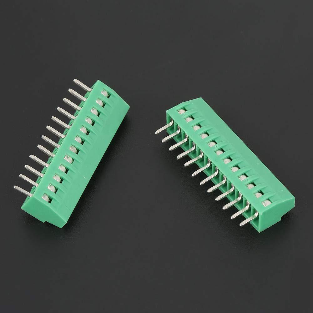 Famus 10 pz//Set 12 Pin 2.54mm Passo Verde P C B Connettore Universale con morsettiera a Vite