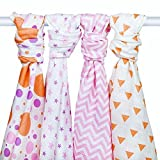 PREMIUM SOFT FOUR PACK MUSLIN SWADDLE BLANKETS - 4 Baby Girl Receiving Blankets - Large 47x47 Swaddling Blanket - Cotton Baby Swaddle Wrap For Girls - 100% Soft Cotton Pink Baby Blanket Set
