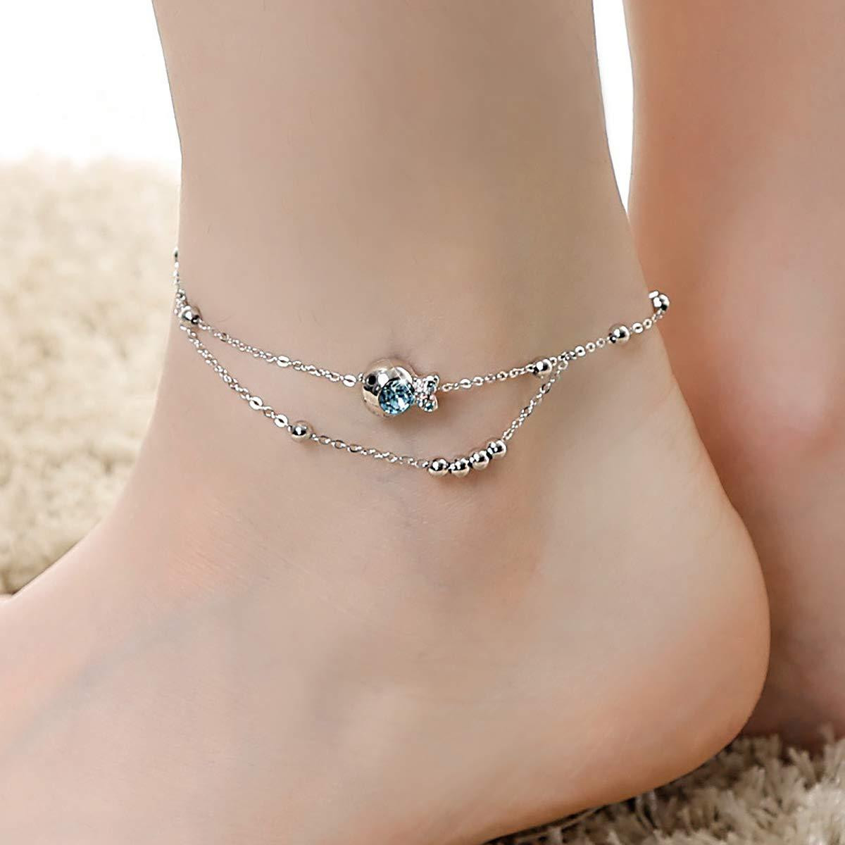CRYSLOVE Bracelet de cheville avec breloque poisson Boho plaqu/é cristal dor/é 8.2+2.0 cha/îne dextension cheville bijoux de plage aux pieds nus pour femmes filles