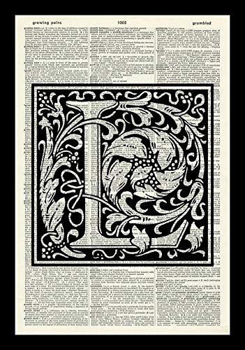 LETTER L-ALPHABET ART PRINT-VINTAGE ART PRINT-WILLIAM MORRIS Art Print-Illustration-Black and White Print-Personalised Gift-Vintage Dictionary Art Print-Wall Hanging-Book Print 14x11 inches (Lalphabet Letter)