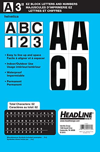 Headline Sign 2572 Stick-On EZ Block Letters and Numbers, Black on White, 3-Inch