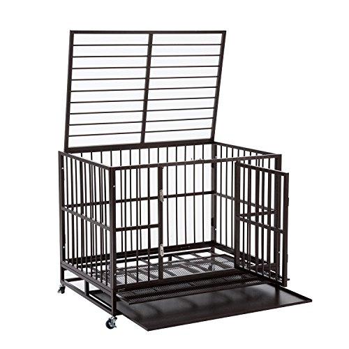 - Walcut Heavy Duty Strong Metal Pet Dog Cage Crate Cannel Playpen w/Wheels (Gold- black- 41.7
