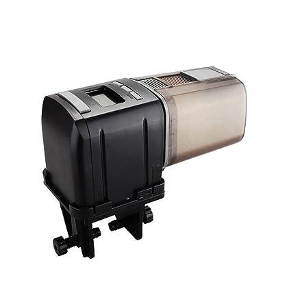 BESTOMZ Alimentador auto de los pescados - Mini dispensador Alimentador automático de peces para peces con pantalla LCD y programa de tiempo, ...
