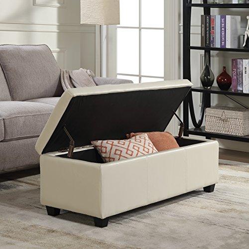 Belleze Modern Elegant Ottoman Storage Bench Living Bedroom Room Home Faux Leather 48