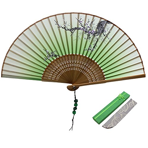 - Jsswb Green Handmade Silk Bamboo Folding Fan with Plum Flowers Painting