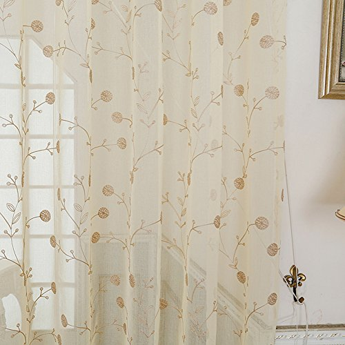 - Simbra Rod Pocket Sheer Curtains Voile Drapes Embroidered Wire Netting Window Treatment for Bedroom, Living Room and Kid's Room (1 Panel, W50 x L100 Inches, Beige)