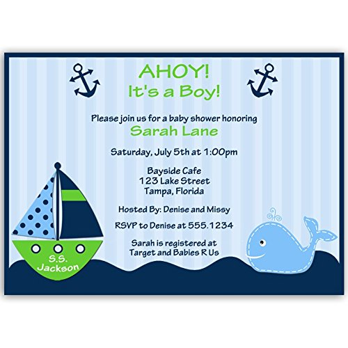 Nautical Baby Shower Invitations, Anchors Away, Stripes, Boys, Navy, Blue, Green, Whale, Ship, Sailboat, Sprinkle, Personalized, Set of 10 Printed Invites with Envelopes, Ahoy It's a Boy