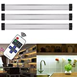 ANSCHE Cabinet Lights, 3 X 4W Dimmable Under Closet LED 1100LM Lighting Portable Ultra Thin Light Bar with Wireless Remote Control Silver Night Light for Counter Kitchen Bathroom Stairway Warm White