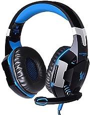 KingTop EACH G2000 Gaming Casque Oreillettes écouteur avec micro Basse stéréo LED pour PC Game, Bleu et Noir