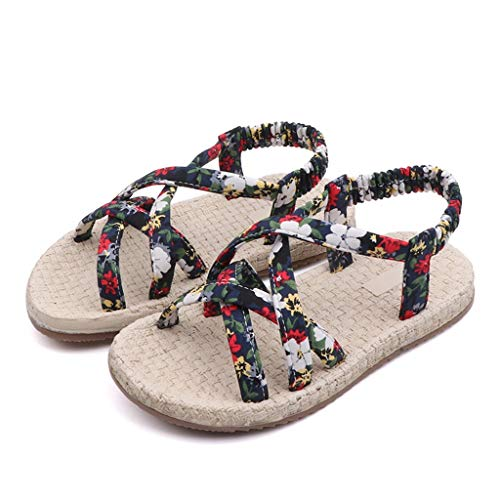 Fashion Haalife◕‿Baby Floral Roman Sandals Criss Cross Strap Sandal Soft Rubber Princess Summer Flat Shoes Green ()