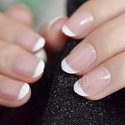 24 uñas naturales de Stiletto, tamaño mediano, puntas de acrílico con forma de almendra