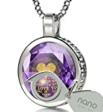 925 Sterling Silver I Love You Necklace 120 Languages Inscribed on Light Purple CZ Halo Pendant, 18''