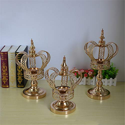 (ROMACANDS Metal Candle Holder Gold Crown Shape Candelabra Wedding Candle Stand Candlestick Table Christmas Home Decor 1 Lot)