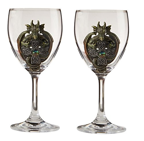 Design Toscano QS293504 The Order of The Celtic Dragon Glass Goblets