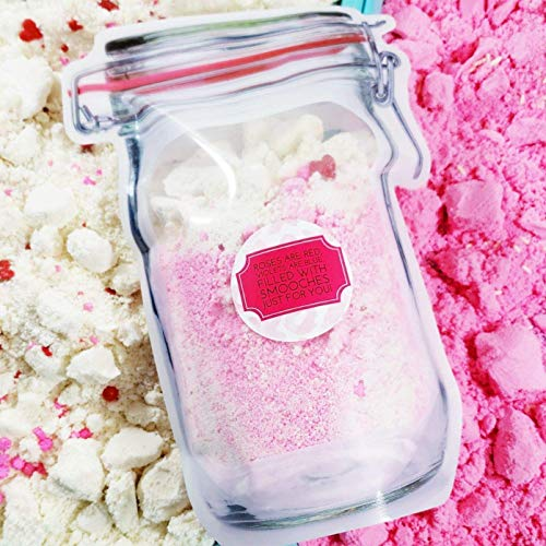 Valentines Day Gift. Bath Bomb Dust 16 oz Mason Jar Bag. Smooches Fizzy Crumbles. Fun Gifts for Her
