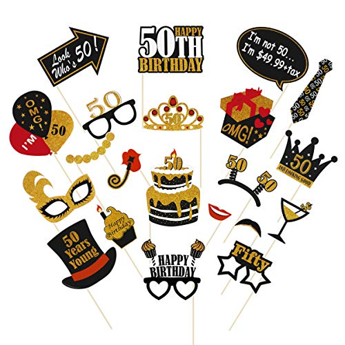 Amosfun 21PCS 50th Birthday Photo Booth Props Glitter Birthday Party Props Black and Gold 50th Birthday Themed Party Decorations, Celebration 50th Birthday Party Favors Supplies