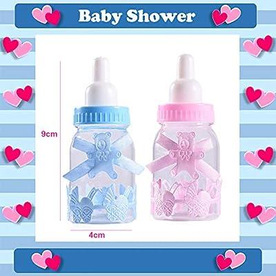 robinlu Regalos Bautizo Baby de Botellas de Dulces, 24 Pieza Candy Befüllbare Botella Caja Ducha begünstigt Dulces Oso Caja Decorada Feeder para Baby Shower Party (12pcs Azul + 12pcs Color Rosa): Amazon.es:
