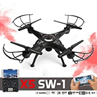 Creazy2.4G 4CH 6-Axis FPV RC Drone Quadcopter Wifi Camera Real Time 2 Control Modes(X5SW-1-BK)