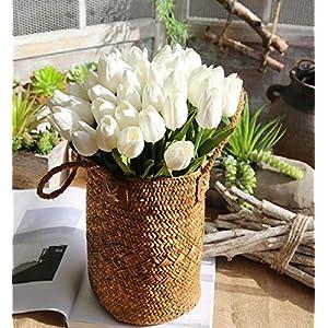 Clearance Sale!DEESEE(TM)5 Pcs Artificial Fake Flowers Tulip Bouquet Floral Wedding Bouquet Party Home Decor (White) 115