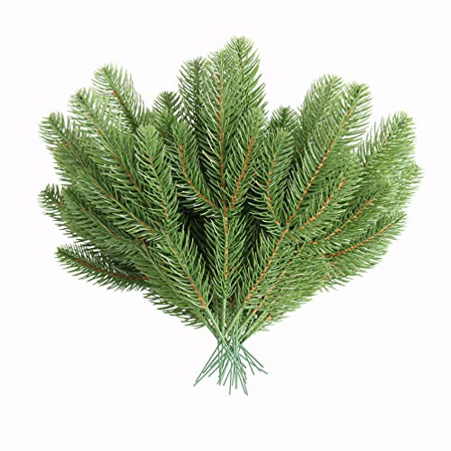 MUFEN 30pcs Artificial Pine Branches Green Plants Pine Needles DIY Accessories for Garland Wreath Christmas Embellishing and Home Garden Decor (Garlands Wreaths And)
