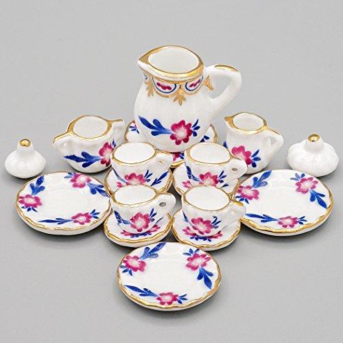 Odoria 1:12 Miniature 15PCS Porcelain Chintz Tea Cup Set Dollhouse Kitchen Accessories