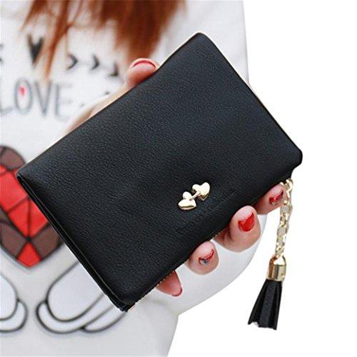 Women Retro Long Leather Wallet Black Pink - 7