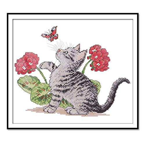 (Cross Stitch Stamped Kit Quilt Pre-Printed Cross-Stitching Patterns for Beginner Kids & Adults- Embroidery Needlepoint Starter Kits, Baby Cat Play with Butterfly)