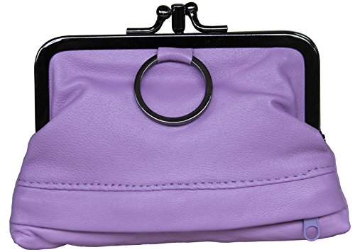 Visnow Triple Metal Fram Genuine Soft Leather Small Clutch Purse Wallet (Purple)