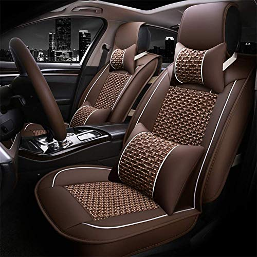 LNDDP Full set of universal five seats - Summer New Ice Silk Car Seat - 3D Breathable Ice Silk + Leather - Front And Rear 5 Seats Full Set,Brown: Sports & Outdoors