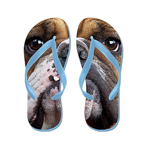 Cafepress Engelsk Bulldogg - Flip Flops, Roliga Rem Sandaler, Strand Sandaler Caribbean Blue