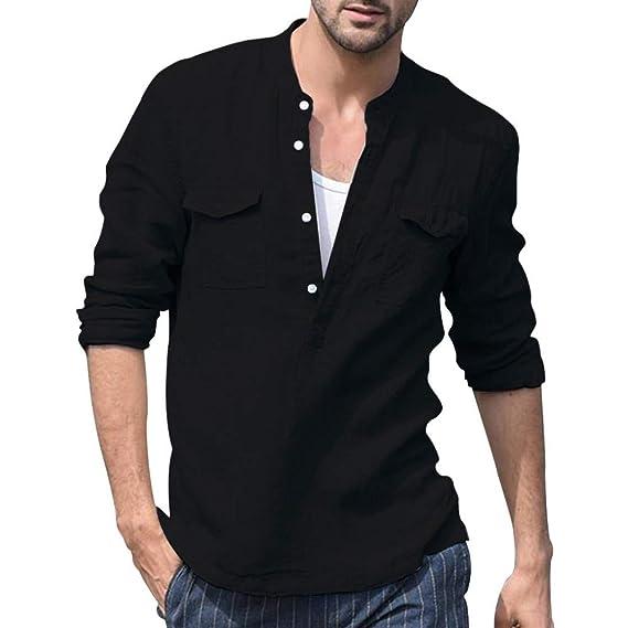 SUDADY Camisetas para Hombre, Tops de algodón y Lino, Top de Manga ...