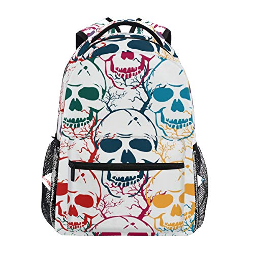 COVOSA Halloween Seamless Pattern Skulls Colorful Vector Lightweight School backpack Students College Bag Travel Hiking Camping Bags ()