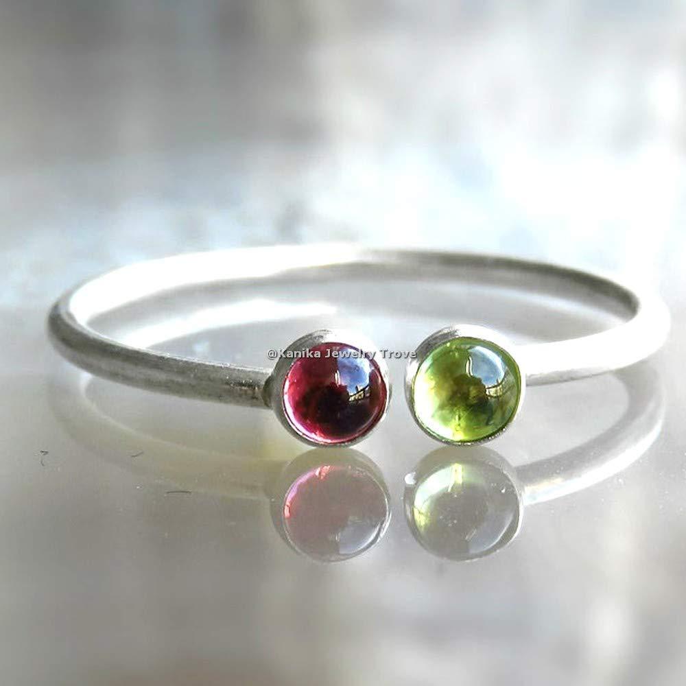 Pink Gemstone Rings-Round Shape Peridot August Birthstone Rings-Green Tourmaline Rings-925 Sterling Silver Rings For Womens-Adjustable Rings