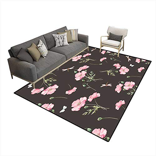 Kids Carpet Playmat Rug Watercolor Floral Pattern 6'6