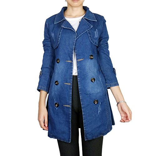 Kaachli Women's Cotton Denim COL Boule Outerwear Jackets (L, Blue)