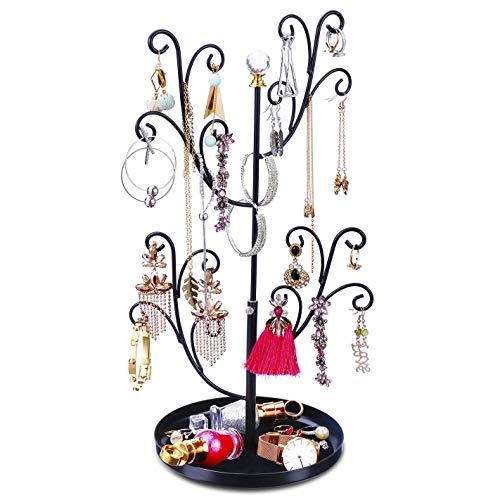 Keebofly Jewelry Organizer Tree Stand Earring Ring Organizer Display for Lover or Friend, Necklace Holder with Adjustable Ideal for Birthday Gift or Any Activities - ()