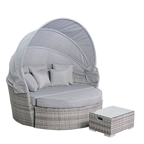 ESports Outdoor Wicker Rattan Daybed with Retractable Canopy Patio Sofa Furniture Set (Gray) (Half Moon Rattan Furniture)