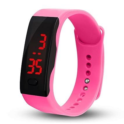 Vovotrade® Hombres Mujeres Silicona Impermeable LED Rojo Reloj Fecha Deportes Pulsera Digital Reloj (Rosa