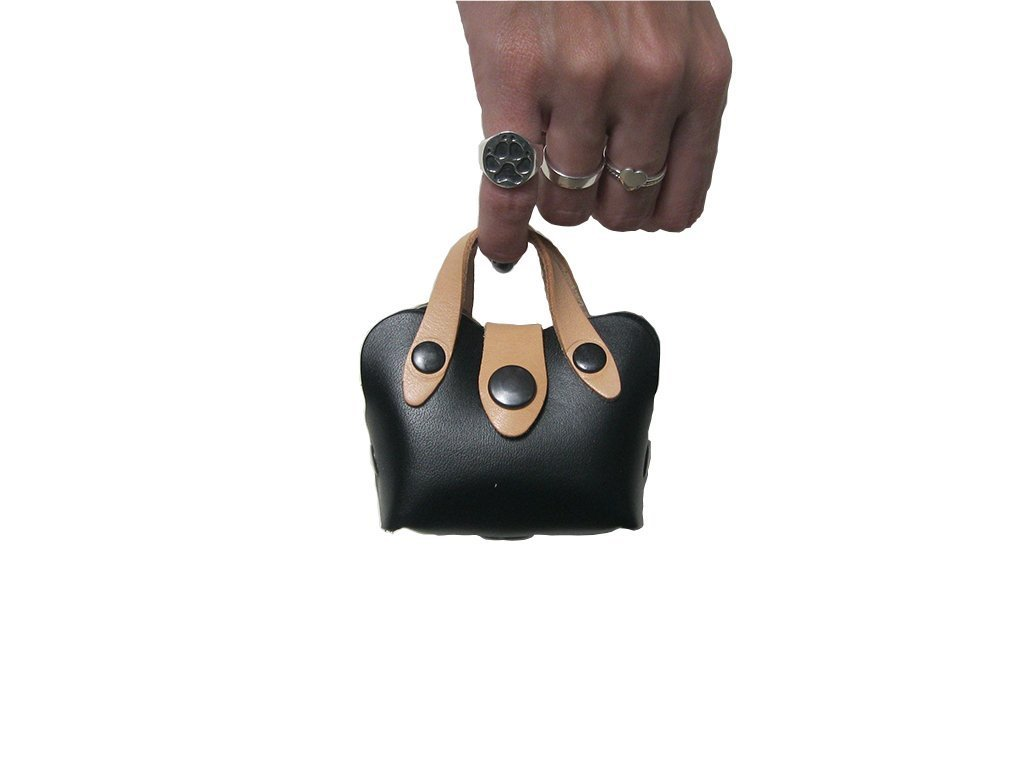 Mini Handbag Dog Poop Bag Holder in Black Leather, Dog Waste Bag Holder, Handmade Dog Supplies