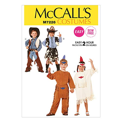 Cheap Easy Indian Costumes - McCall's Costumes M7226 Children's Cowboys, Cowgirls,