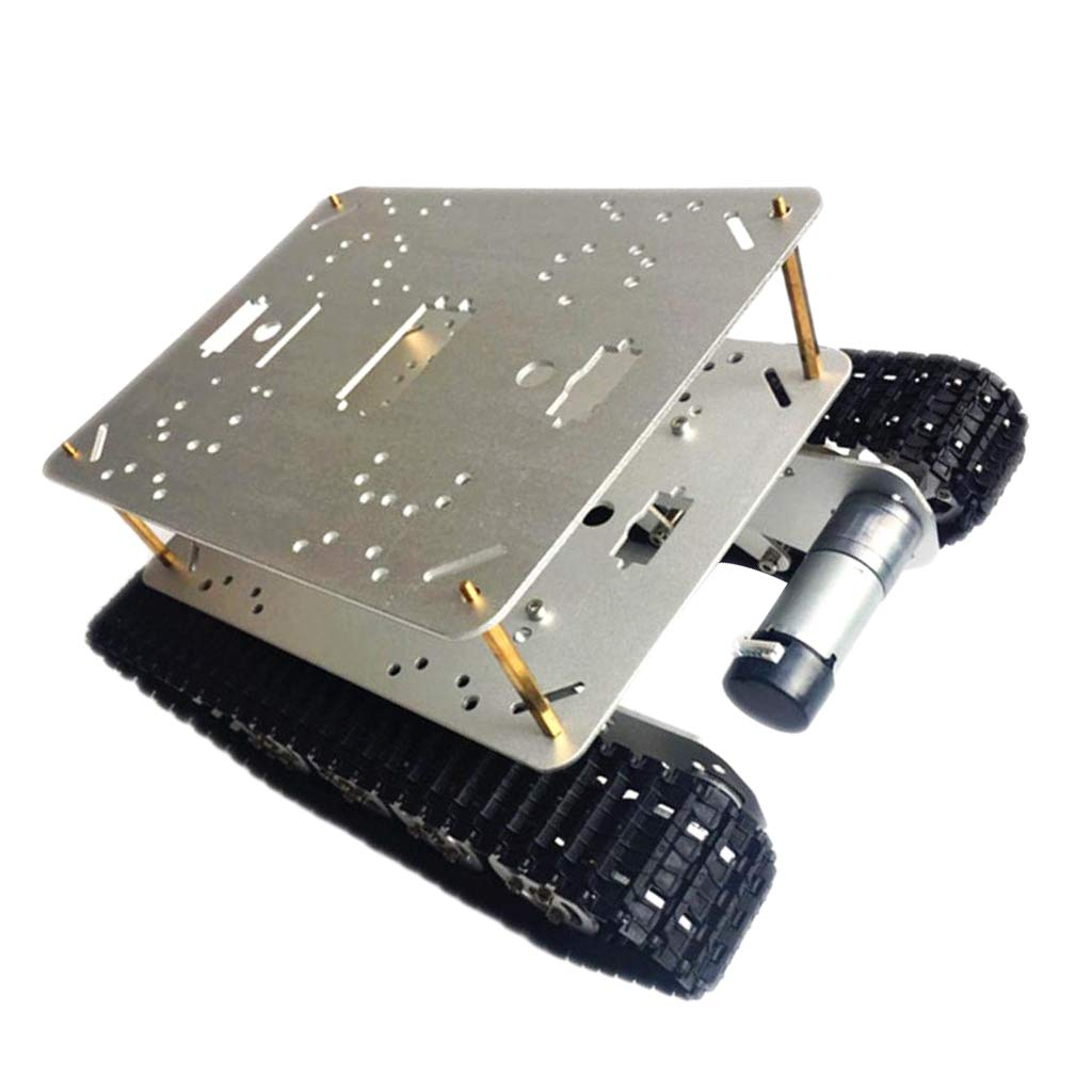 F Fityle DIY クローラ スマートタンク RCカーシャーシキット WiFiロボット車シャシー 9V/12Vモータ アルミニウム合金 - シルバー12Vモーター B07L4Q13LX シルバー12vモーター