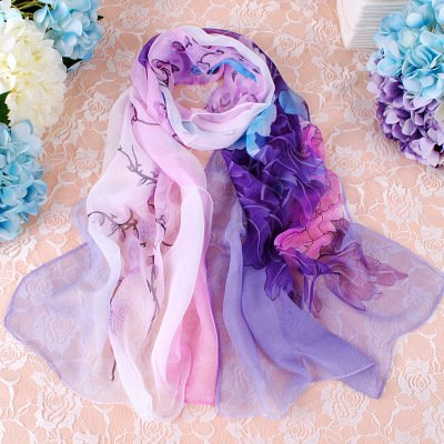 Fashion Flower Ink Style Soft Silk Voile Scarves Wrap Shawl (Multi-color/3)
