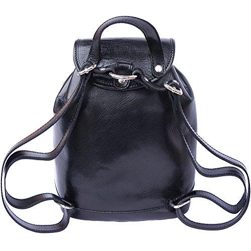 Borse Leather Zainetto E Di Florence A Pratico Borsa Market Luminosa Pelle Vitello In Lucida 6559 Nero Unisex 4d1wqZ