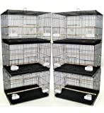 Mcage Lot of 6 Aviary Breeding Bird Finch Parakeet Finch Flight Cage 24' x 16' x 16' Black