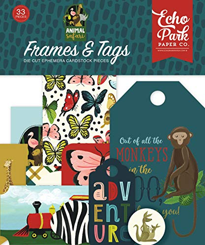 Echo Park Paper Company ZOO167025 Animal Safari Frames & Tags Ephemera, Green, Navy, Blue, Yellow, red, Pink ()