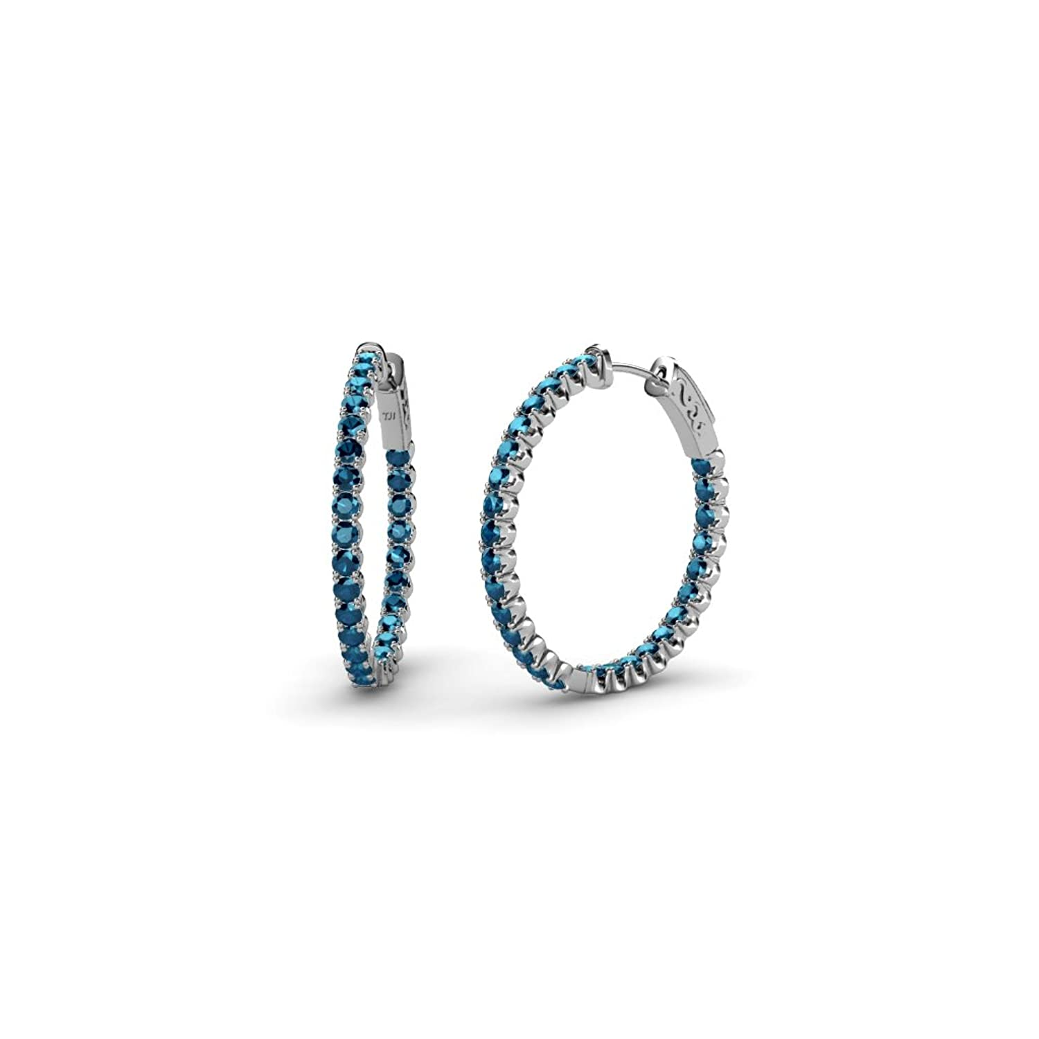 Amazon Blue Diamond Inside Out Hoop Earrings 1 32 ct tw in 14K