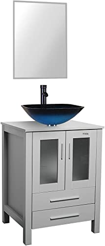 24 Grey Bathroom Vanity,Tempered Glass Vessel Sink Combo,Style Sink,1.5 GPM Faucet Oil Rubbed Bronze,Bathroom Vanity Top