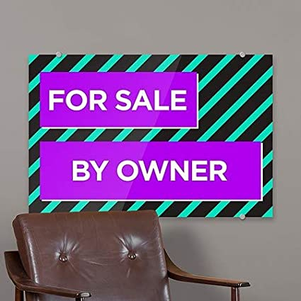 CGSignLab for Sale by Owner 36x24 Modern Block Premium Brushed Aluminum Sign