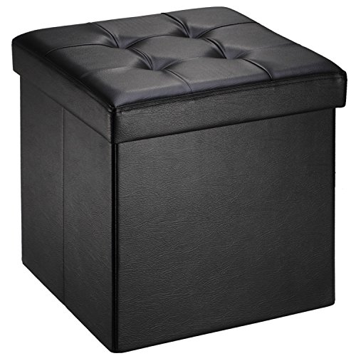 Ollieroo Faux Leather Folding Storage Ottoman Bench Foot Rest Stool Seat Black 15''X15''X15'' (Medium Leather Square Tray)